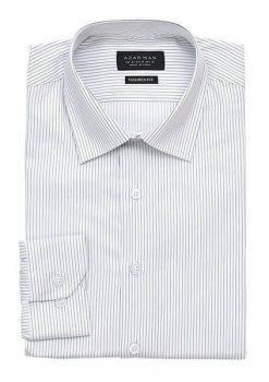 New Mens Dress Shirt Narrow Stripe White Tailored Slim Fit Wrinkle Free By Azar Man