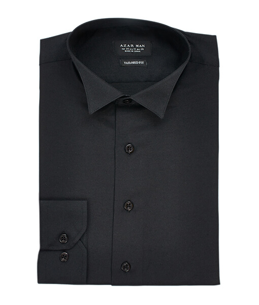 New Mens Dress Shirt Black Tuxedo Wing Tip Tailored Slim Fit Wrinkle Free By Azar Man
