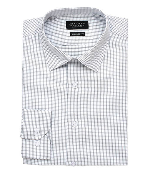 New Mens Dress Shirt Check White Tailored Slim Fit Wrinkle Free Cotton By Azar Man