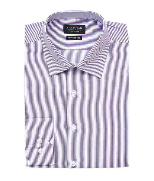 New Mens Dress Shirt Stripe Lavender Tailored Slim Fit Wrinkle Free Cotton