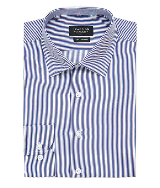 New Mens Dress Shirt Stripe Blue Tailored Slim Fit Wrinkle Free Cotton By Azar Man