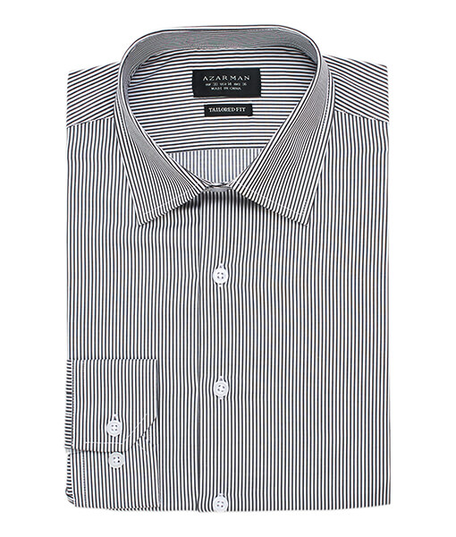 New Mens Dress Shirt Stripe Grey Tailored Slim Fit Wrinkle Free Cotton By Azar Man