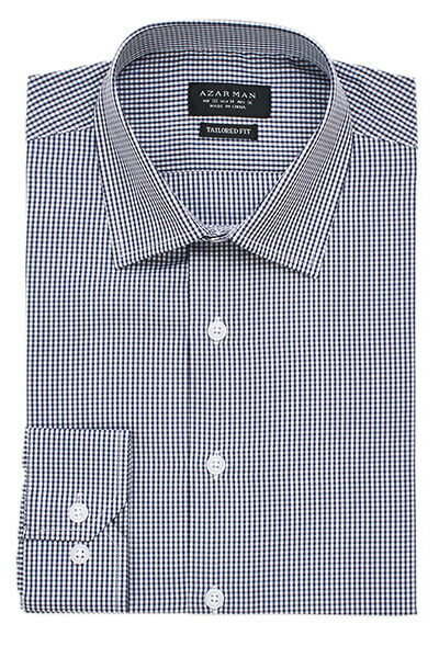 New Mens Dress Shirt Plaid Black Tailored Slim Fit Wrinkle Free Cotton By Azar Man