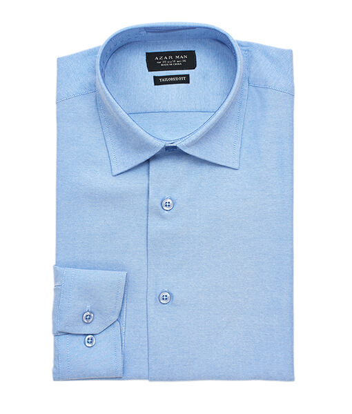 New Mens Dress Shirt Blue Tailored Slim Fit Wrinkle Free Cotton By Azar Man