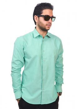 New Mens Dress Shirt Green Tailored Slim Fit Wrinkle Free Cotton By Azar Man