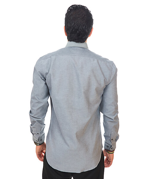 New Mens Dress Shirt Charcoal Grey Tailored Slim Fit Wrinkle Free Cotton By Azar Man