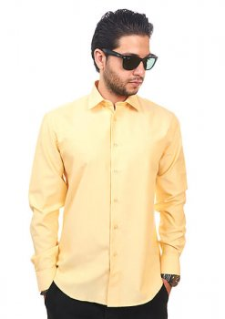 Yellow Tailored Slim Fit Wrinkle Free Cotton By Azar Man