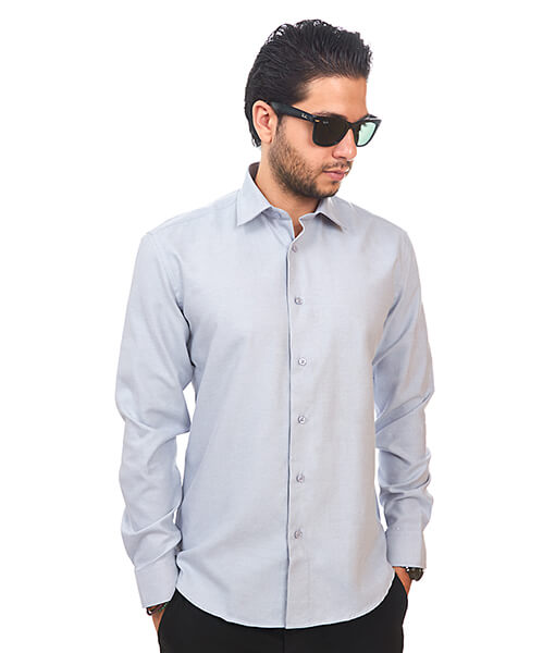 New Mens Dress Shirt Light Grey Silver Tailored Slim Fit Wrinkle Free Cotton
