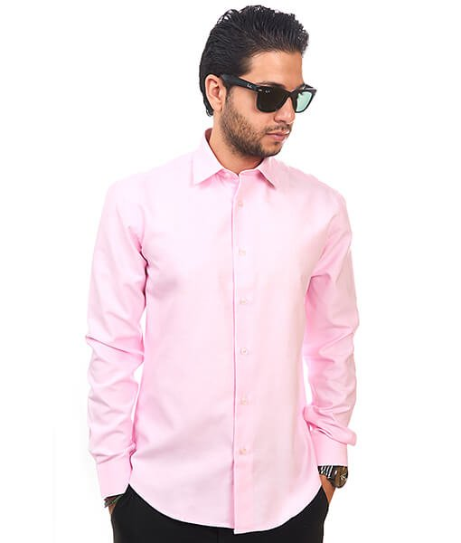 3a2bedccfb3 New Mens Dress Shirt Pink Tailored Slim Fit Wrinkle Free Cotton By Azar Man