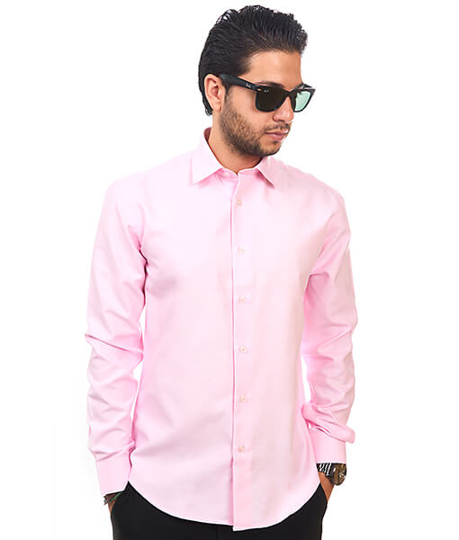 Pink Tailored Slim Fit Wrinkle Free Cotton By Azar Man - Azar Suits