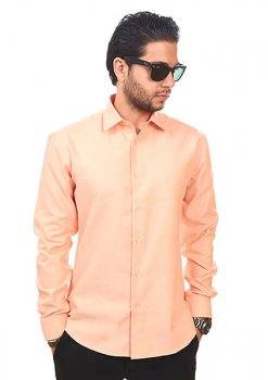 New Mens Dress Shirt Peach Orange Tailored Slim Fit Wrinkle Free Cotton By Azar Man