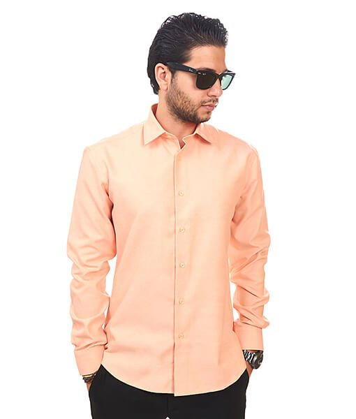 Peach Orange Tailored Slim Fit Wrinkle Free Cotton By Azar Man ...