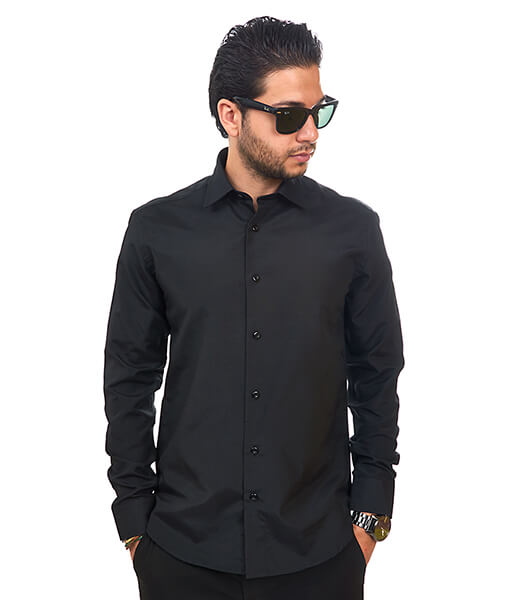 New Mens Dress Shirt Solid Black Tailored Slim Fit Wrinkle Free Cotton By Azar Man