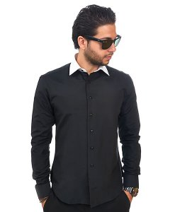 New Mens Dress Shirt Black / White Collar Tailored Slim Fit Wrinkle Free By Azar Man