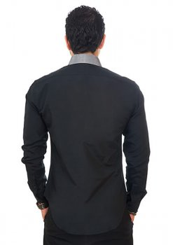 New Mens Dress Shirt Black / Grey Collar Tailored Slim Fit Wrinkle Free By Azar Man