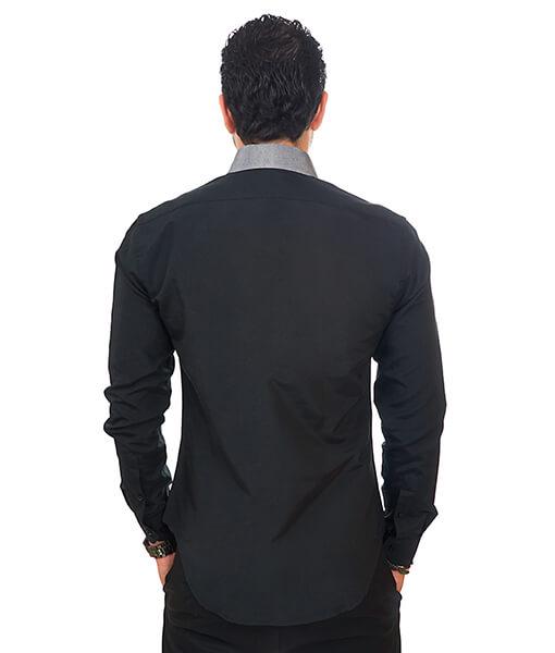 New Mens Dress Shirt Black / Grey Collar Tailored Slim Fit Wrinkle Free By Azar Man