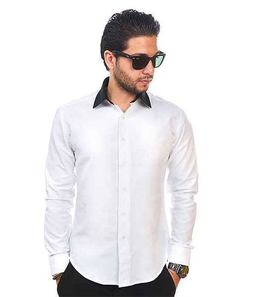 White / Black Collar Tailored Slim Fit Wrinkle Free By Azar Man