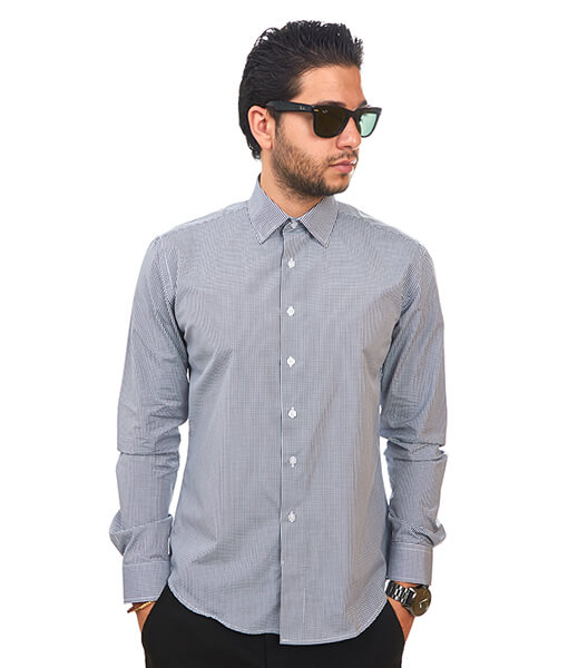 New Mens Dress Shirt Plaid Black Tailored Slim Fit Wrinkle Free Cotton By Azar Man