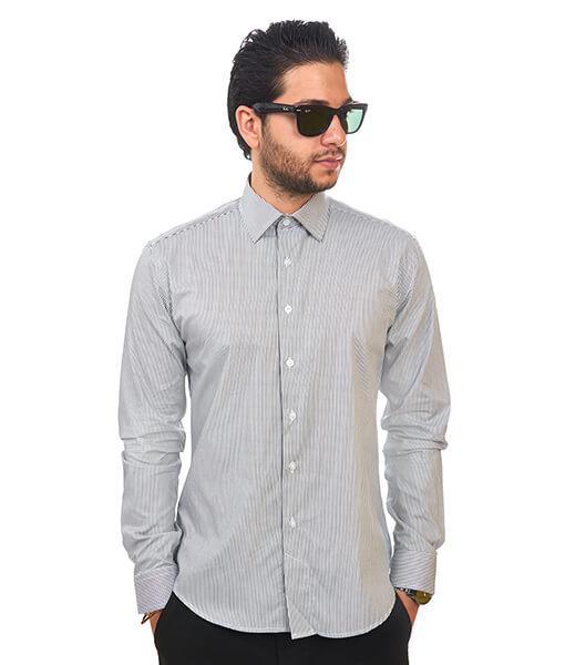 New Mens Dress Shirt Stripe Grey Tailored Slim Fit Wrinkle Free Cotton By Azar Man