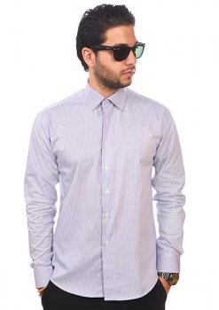 New Mens Dress Shirt Stripe Lavender Tailored Slim Fit Wrinkle Free Cotton