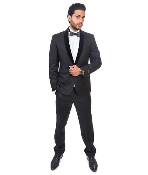 Slim Fit 1 Button Shawl Velvet Collar Black Suit