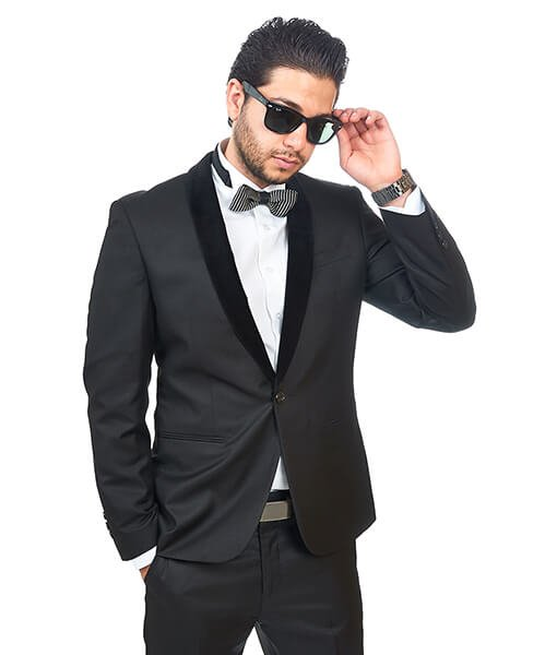 Slim Fit 1 Button Shawl Velvet Collar Black Suit - Azar Suits