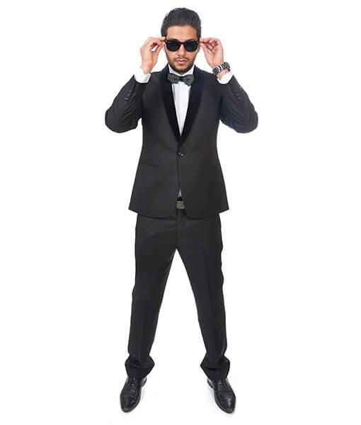 Slim Fit Men Tuxedo / Fashion Suit 1 Button Shawl Velvet Lapel Black By Azar Man