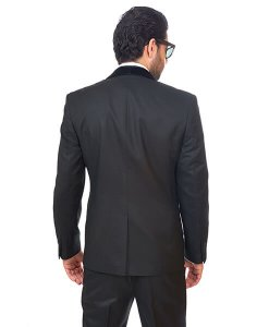 Slim Fit Men Tuxedo / Fashion Suit 1 Button Shawl Velvet Lapel Black By Azar Man