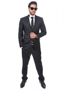 Slim Fit Men Suit / Tuxedo Trim Collar Black 2 Button Flat Front Pants By Azar