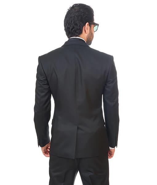 Slim Fit Men Suit / Tuxedo Trim Collar Black 2 Button Flat Front Pants By Azar