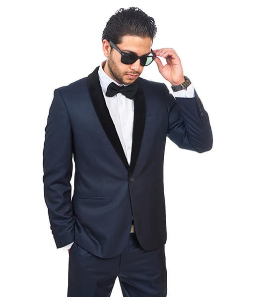 Slim Fit 1 Button Shawl Velvet Lapel Navy Blue Suit - Azar Suits