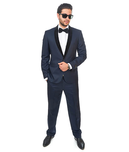 Slim Fit 1 Button Shawl Velvet Lapel Navy Blue Suit