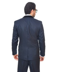 Slim Fit Men Suit / Tuxedo Navy Blue 1 Button Shawl Velvet Lapel By Azar Man