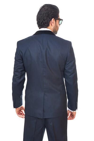 Slim Fit Men Suit / Tuxedo Navy Blue 1 Button Shawl Velvet Lapel By Azar Man