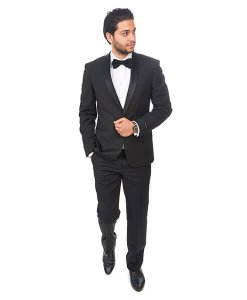 Slim Fit Men Shawl Lapel Tuxedo Black 1 Button Flat Front Pants By Azar Man