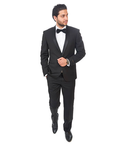 Slim Fit 1 Button Shawl Lapel Black Tuxedo