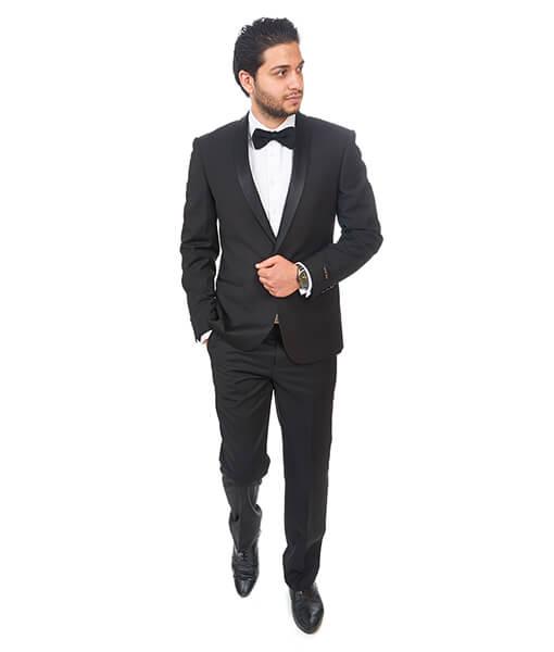 Slim Fit 1 Button Shawl Lapel Black Tuxedo