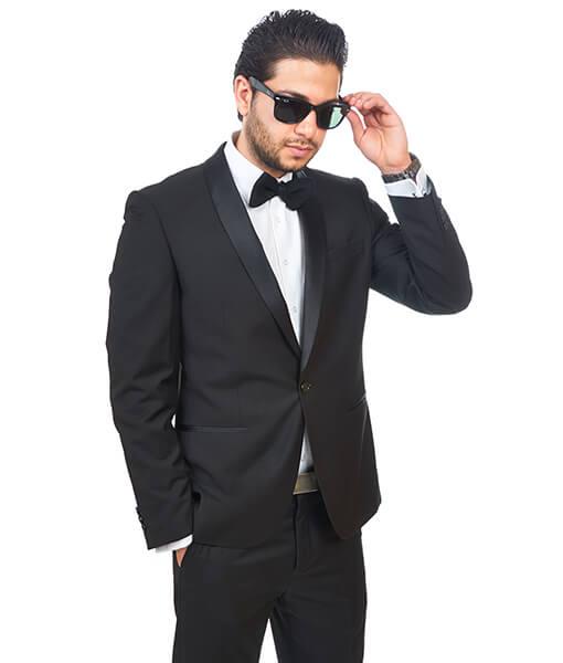 Slim Fit Men Shawl Lapel Tuxedo Black 1 Button Flat Front Pants By Azar Man