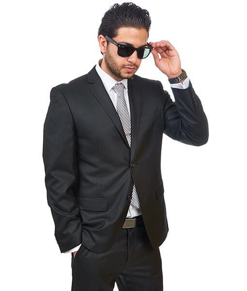 Slim Fit Men Suit 2 Button Black Semi Shiny Sharkskin Notch Lapel By Azar