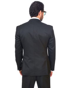 Slim Fit Men Suit 2 Button Black Semi Shiny Sharkskin Notch Lapel By Azar
