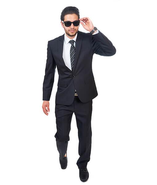 9cd8a9826d61 Slim Fit Men 1 Button Peak Lapel Textured Black Suit Flat Front Pant ...