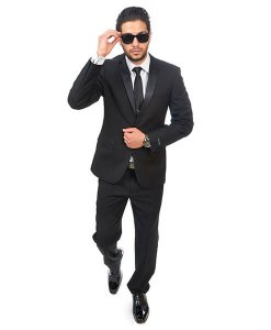Slim Fit 2 Button Notch Lapel Black Tuxedo