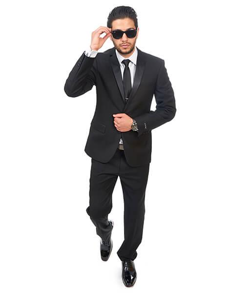 Slim Fit 2 Button Notch Lapel Black Tuxedo