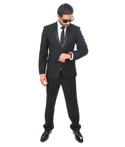 Slim Fit Men Suit Tuxedo Black 2 Button Satin Collar Flat Front Pants By Azar Man
