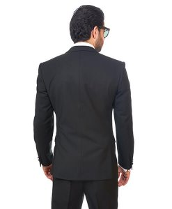 Slim Fit Men Suit Tuxedo Black 2 Button Satin Collar Flat Front Pants By Azar Man