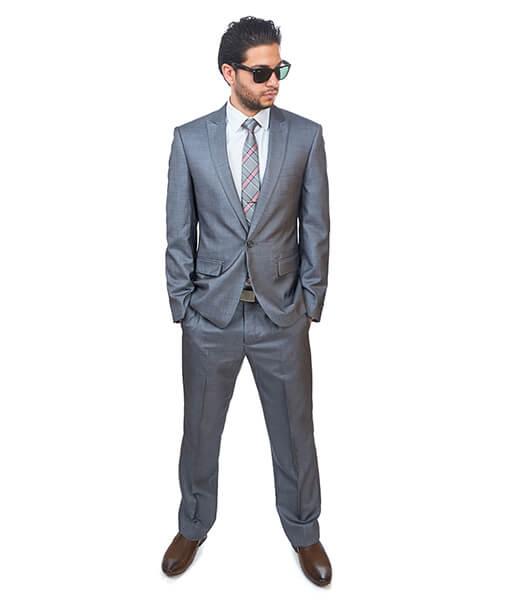 Slim Fit Men 1 Button Peak Lapel Textured Grey Suit Flat Front ...