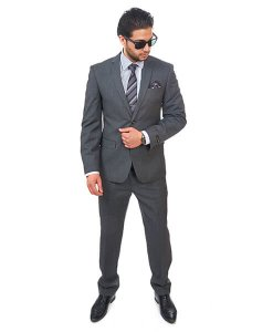 Slim Fit Men Suit 2 Button Dark Grey Notch Lapel Flat Front Pants By Azar Man