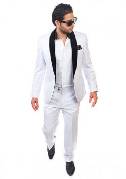 Slim Fit 1 Button Shawl Velvet Collar White Suit