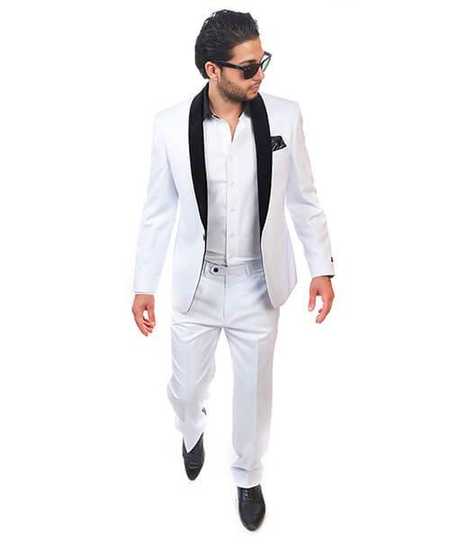 Slim Fit 1 Button Shawl Velvet Collar White Suit - Azar Suits