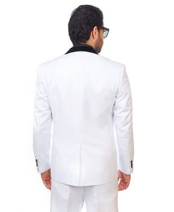 Slim Fit Men Suit / Tuxedo White 1 Button Shawl Velvet Lapel White By Azar Man